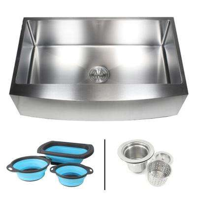 Farmhouse/Apron-Front 16-Gauge Stainless Steel 36 in. Curve Single Bowl Kitchen Sink w Collapsible Silicone Colanders