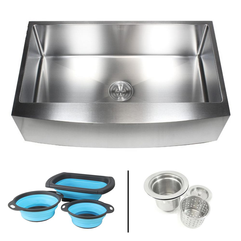 Emoderndecor Farmhouse Apron Front 16 Gauge Stainless Steel 36 In Curve Single Bowl Kitchen Sink W Collapsible Silicone Colanders Efs3621r Ckc The Home Depot