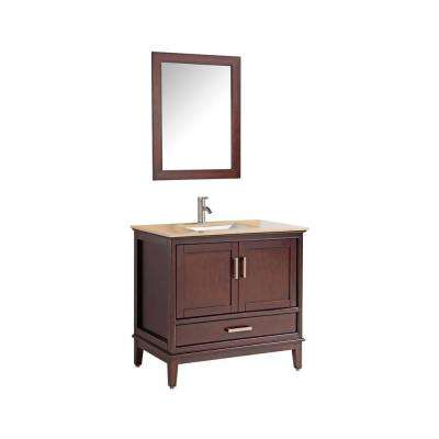 Sierra 36 in. W x 22 in. D x 36 in. H Vanity in Tobacco with Quartz Vanity Top in Tan Ivory with White Basin and Mirror