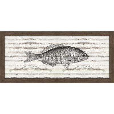 """22 in. x 10 in. """"Largemouth Bass on Driftwood"""" Framed Giclee Print Wall Art"""