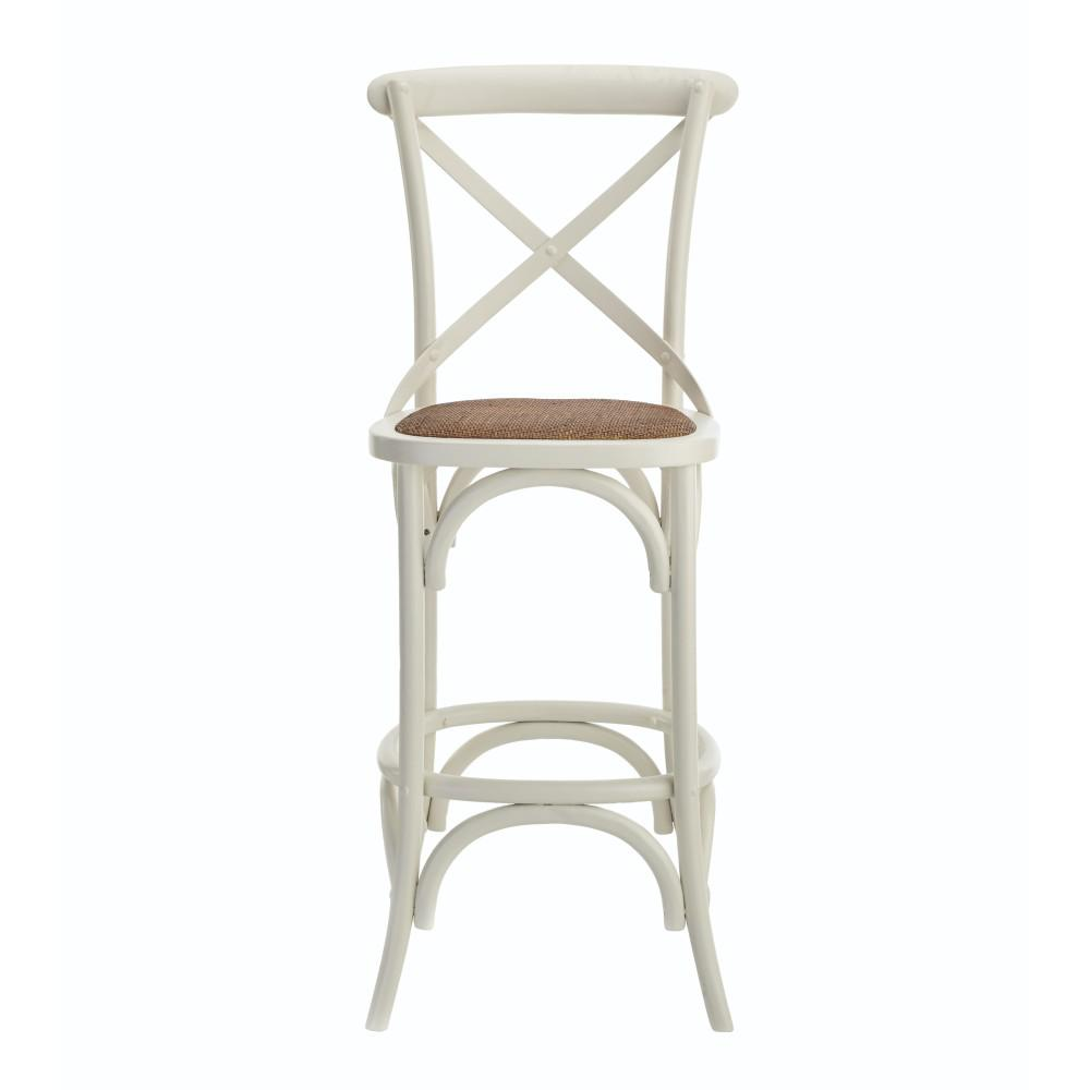 Ivory Bar Stool With Cane Seat