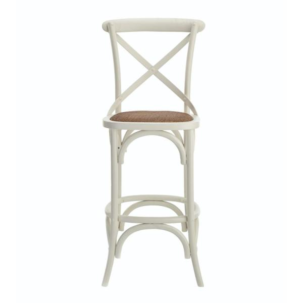 Linon Home Decor Hyde Cafe 30 In Ivory Bar Stool With Cane Seat
