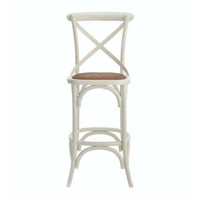 Hyde Cafe 30 in. Ivory Bar Stool with Cane Seat