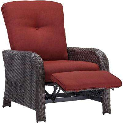 Corolla 1-Piece Wicker Outdoor Reclinging Patio Lounge Chair with Red Cushions