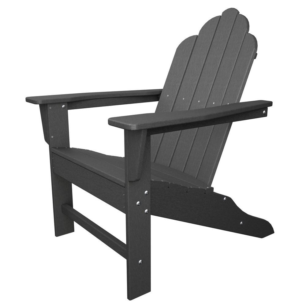 Delicieux POLYWOOD Long Island Slate Grey Plastic Patio Adirondack Chair