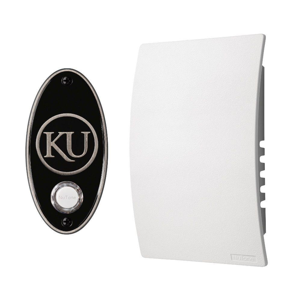 NuTone College Pride University of Kansas Wired/Wireless Door Chime Mechanism and Pushbutton Kit - Satin Nickel