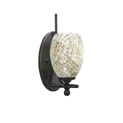 1-Light Dark Granite Sconce with Natural Tiffany-Style Glass