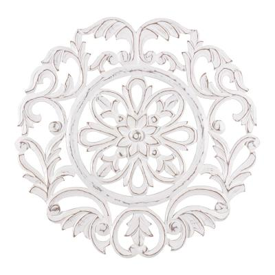 Lassi 23.5 in. x 23.5 in. White Medallion by Madeleine Home Wooden Wall Art/ Sculptures
