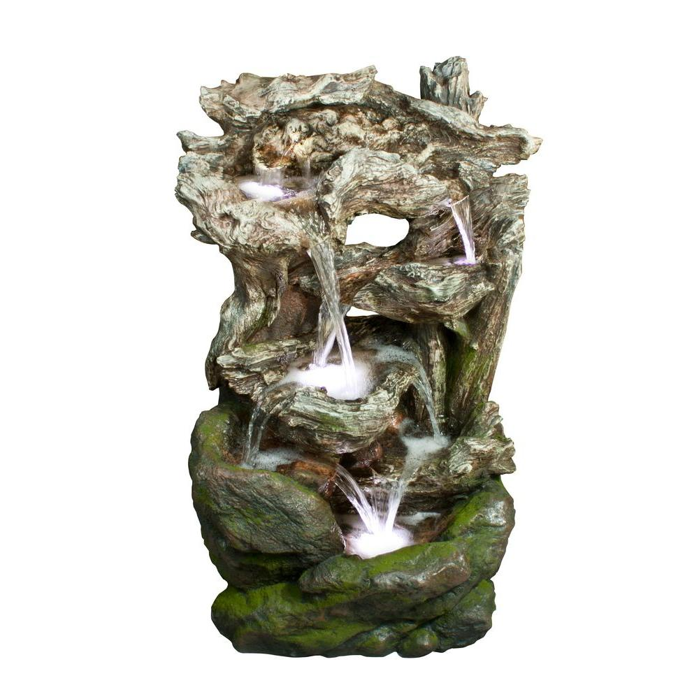 Outdoor Water Fountains Home Depot: Alpine Rainforest Waterfall Fountain With LED Lights