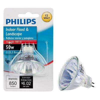 50-Watt Halogen MR16 12-Volt Landscape Lighting and Indoor Dimmable Floodlight Bulb