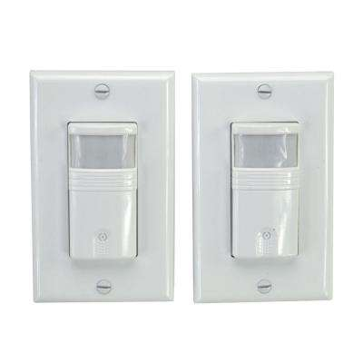 120-Volt Occupancy/Vacancy PIR Sensor Wall Switch, White (2-Pack)