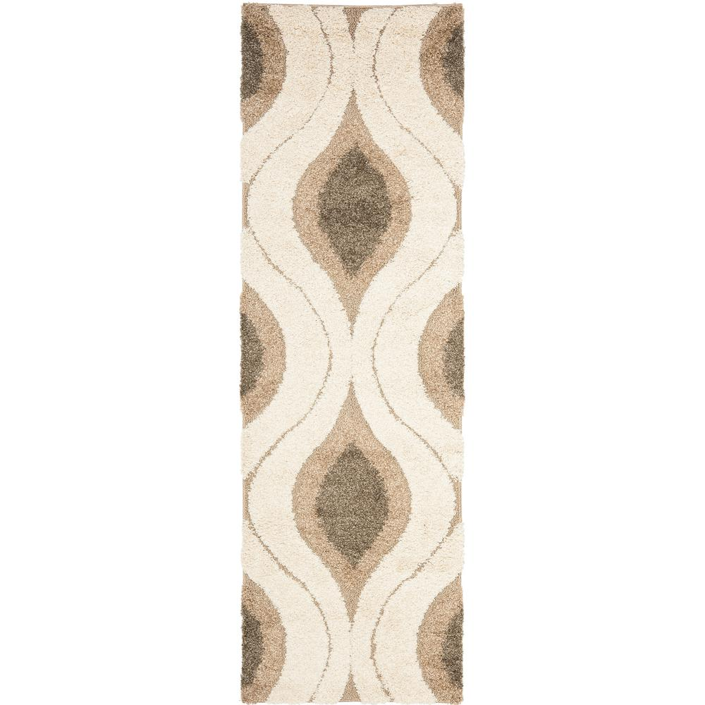 Safavieh Florida Shag Cream/Smoke 2 ft. x 10 ft. Runner Rug