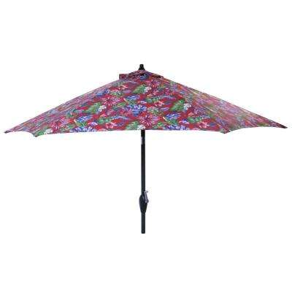9 ft. Aluminum Market Tilt Patio Umbrella in Ruby Tropical