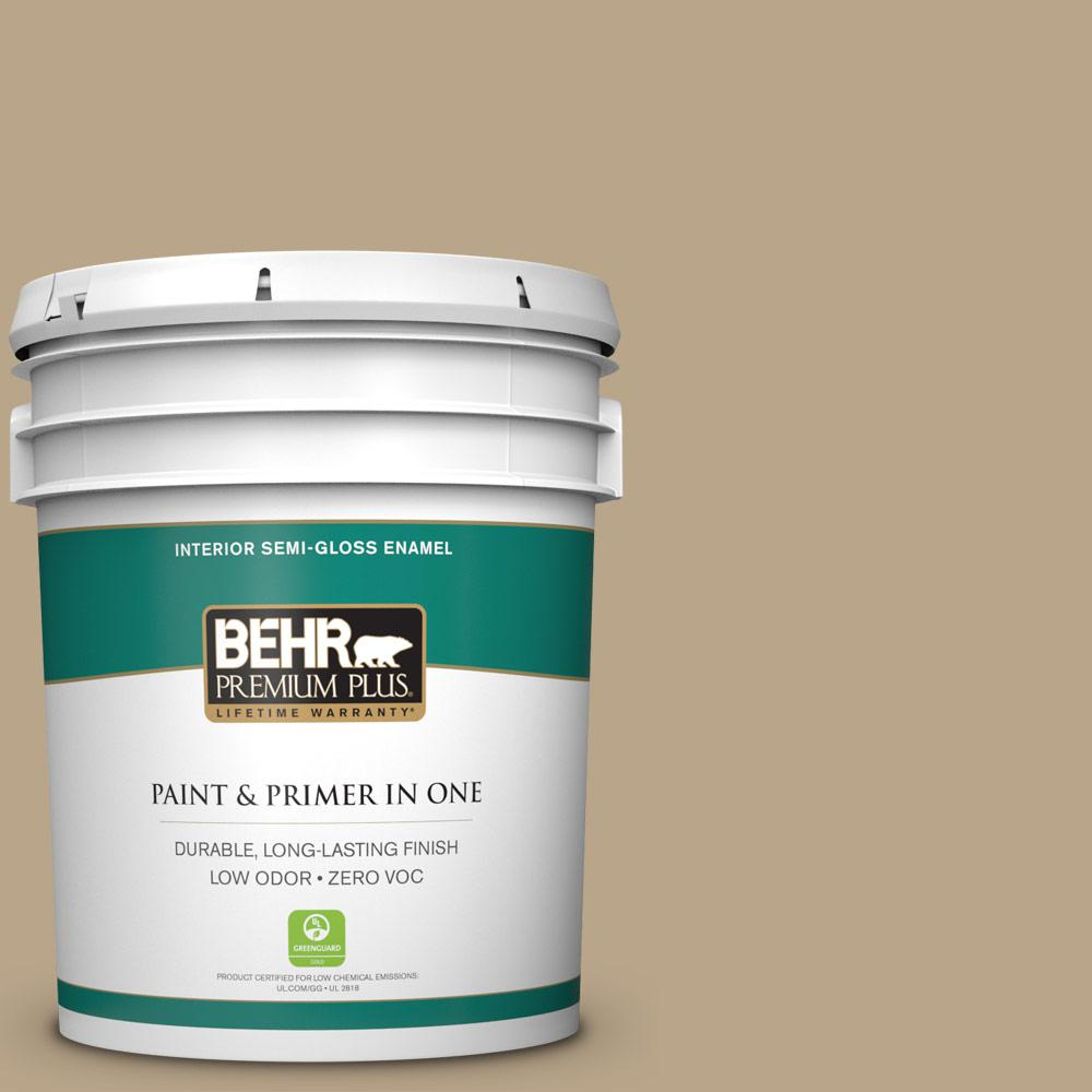 BEHR Premium Plus 5-gal. #710D-4 Harvest Brown Zero VOC Semi-Gloss Enamel Interior Paint