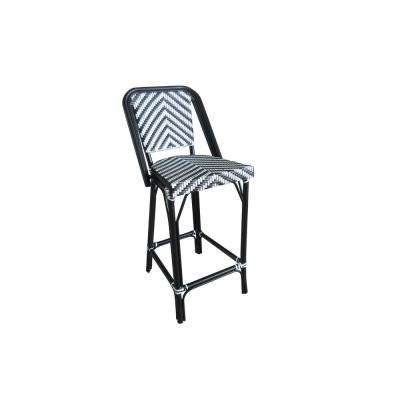 Modern Black and White Aluminum and Plastic Wicker Stackable Bistro Bar Chair Commercial Grade Outdoor Dining Chair