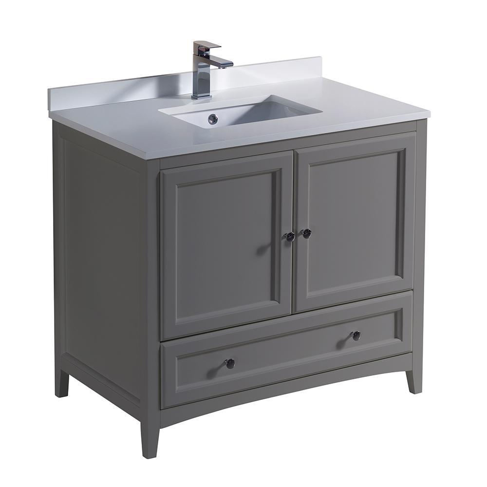 45 Bathroom Vanity Home Depot: Fresca Oxford 36 In. Traditional Bathroom Vanity In Gray