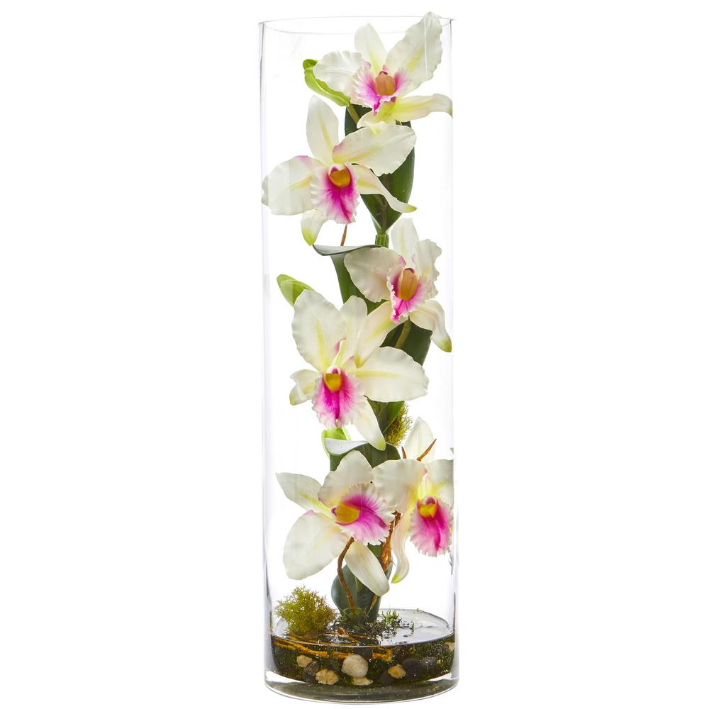 20 in. High Cattleya White Orchid Artificial Floral Arrangement in Cylinder
