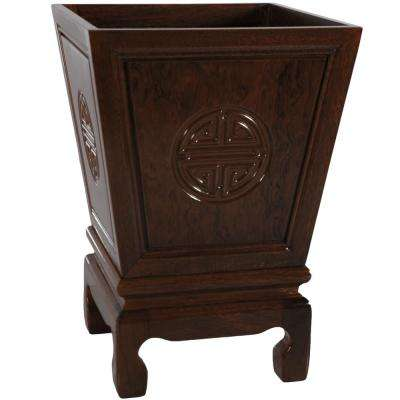 Oriental Furniture 12.25 In. Rosewood Long Life Flower Container In Dark  Rosewood