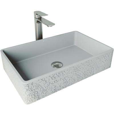 Dahlia Concrete Vessel Sink in Ash with Faucet in Brushed Nickel