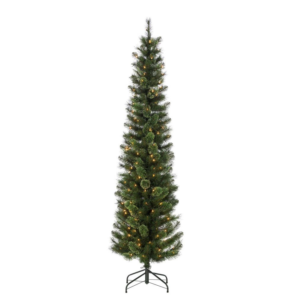 hard mixed needle cashmere pencil artificial christmas tree with 200 clear lights - Cashmere Christmas Tree