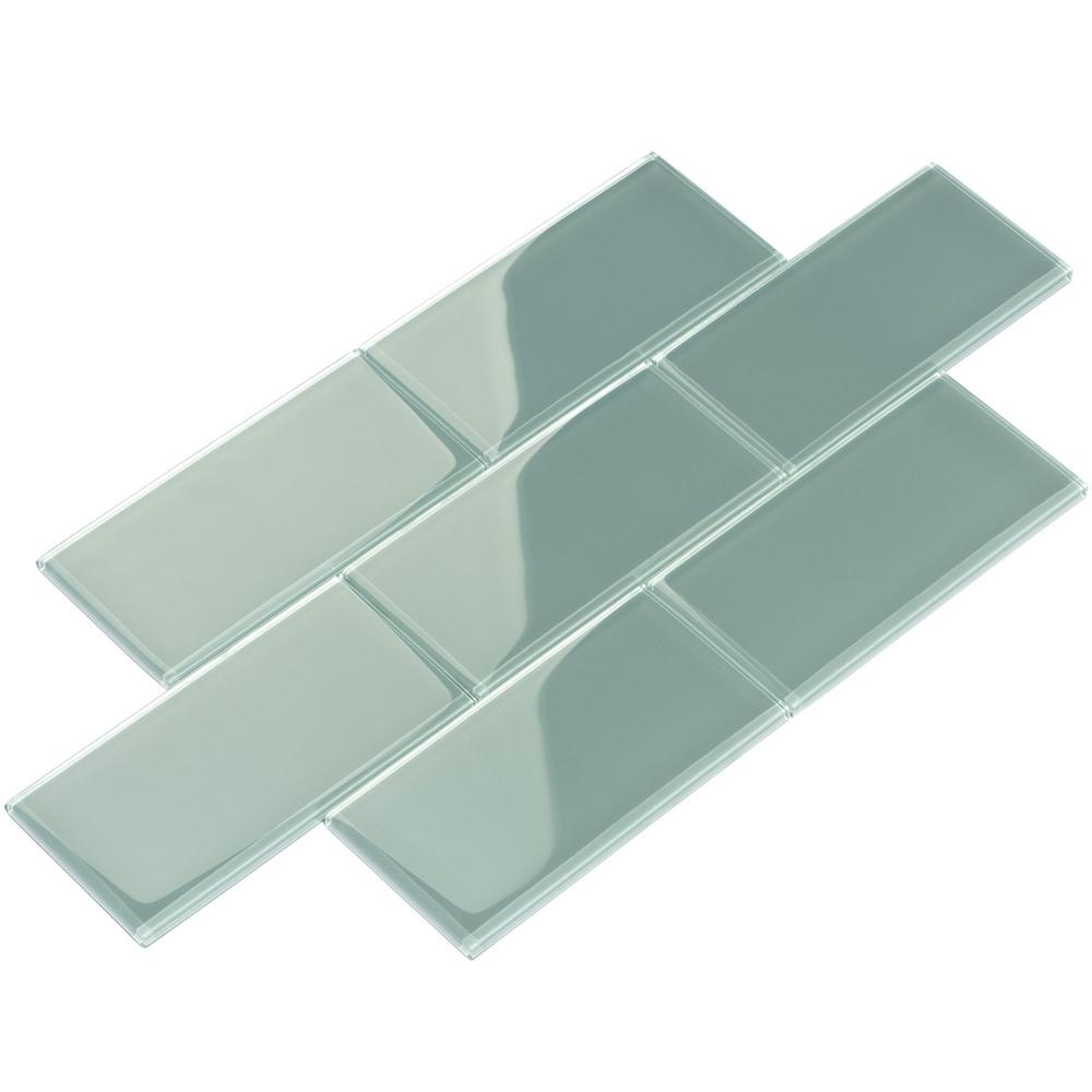 Giorbello Slate Subway 3 in. x 6 in. x 8mm Glass Backsplash and Wall ...