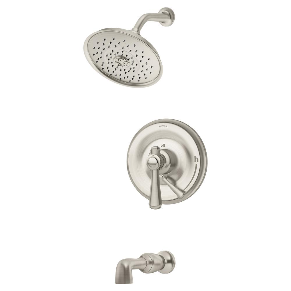 Symmons Degas 1 Handle Wall Mounted Tub And Shower Trim Kit In Satin Nickel Valve Not Included S 5402 Stn 1 5 Trm The Home Depot
