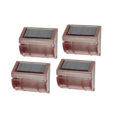 Solar Mission Brown Outdoor Integrated LED Landscape Wall Path Lights (4-Pack)