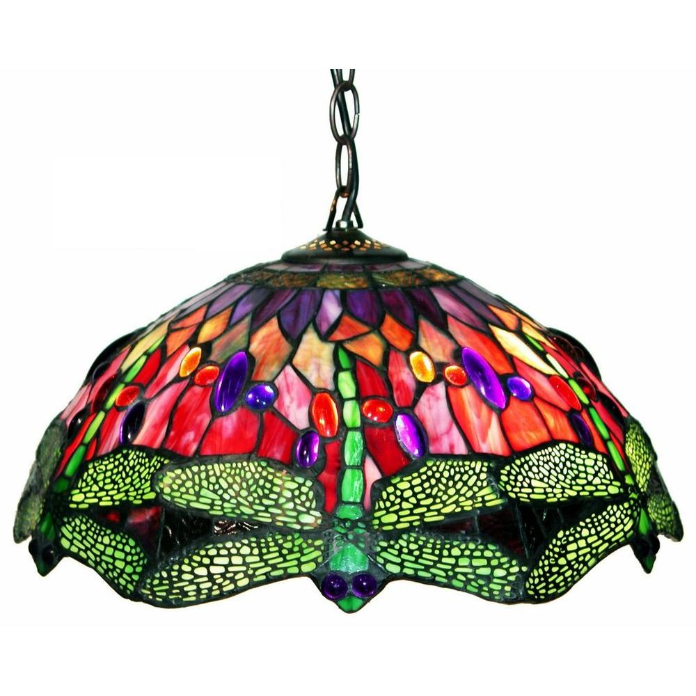 dome pendant style warehouse tiffany single stained pd glass in shop of bronze