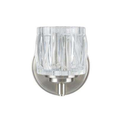 1-Light Brushed Nickel Vanity Light with Clear Glass Shade