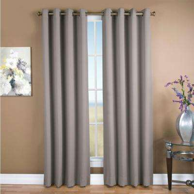 Blackout Ultimate Blackout Polyester Grommet Curtain Panel 56 in. W x 63 in. L Grey