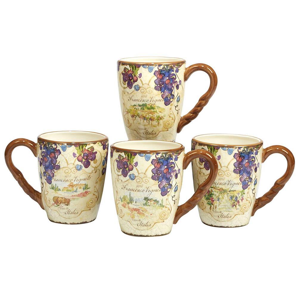 Vino 20 oz. Multi-Colored Ceramic Mugs (Set of 4)