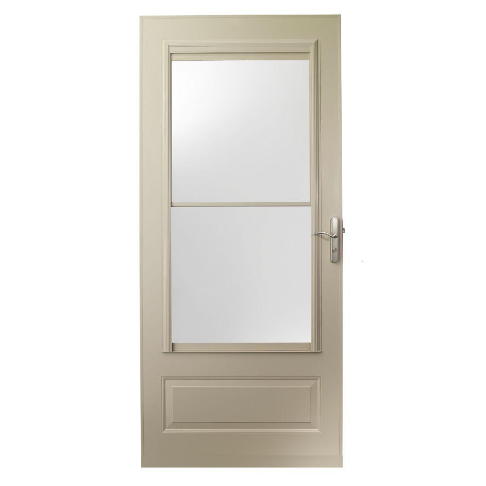 EMCO 36 in. x 80 in. 400 Series Sandtone Universal Self-Storing Aluminum Storm Door with Nickel Hardware