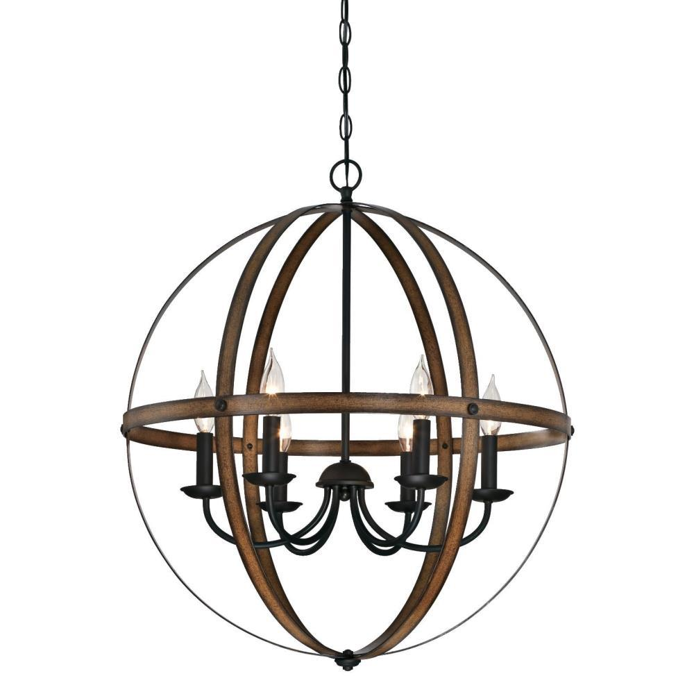 Westinghouse Stella Mira 6-Light Barnwood and Oil Rubbed Bronze Chandelier