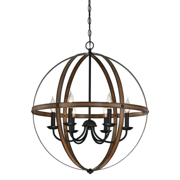 Stella Mira 6-Light Barnwood and Oil Rubbed Bronze Chandelier