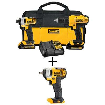20-Volt MAX Lithium-Ion Cordless Drill/Driver & Impact Wrench Combo Kit (2-Tool) w/ (2) 20-Volt MAX Batteries 1.3Ah