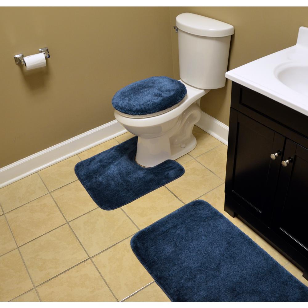 Navy 3 Piece Washable Bathroom Rug Set