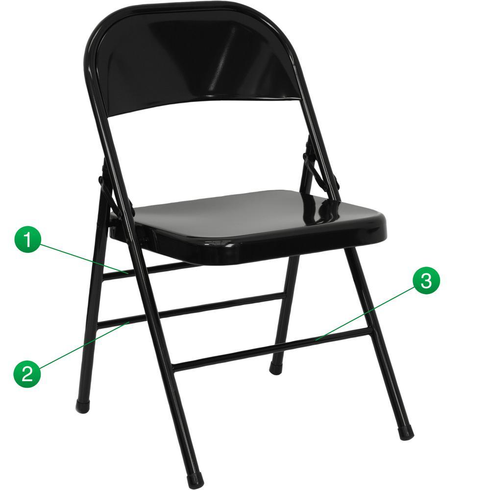 Flash Furniture Hercules Series Triple Braced U0026 Double Hinged Black Metal Folding  Chair