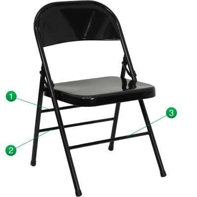 Exceptionnel Hercules Series Triple Braced U0026 Double Hinged Black Metal Folding Chair