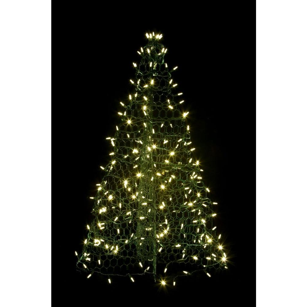 Crab Pot Trees 3 ft. Pre-Lit LED Green Artificial Christmas Tree with Green
