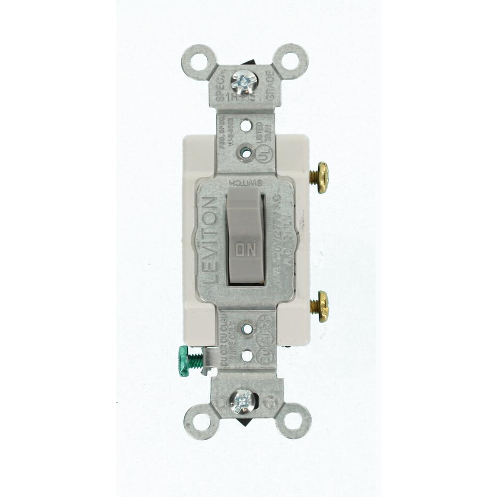 Leviton 15 Amp Commercial Grade Single Pole Toggle Switch  Gray-cs115-2gy