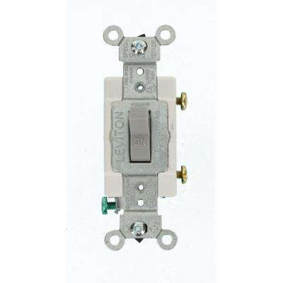 15 Amp Commercial Grade Single Pole Toggle Switch, Gray