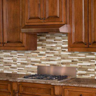 Milano Sasso Approximately 3 in. W x 3 in. H Brown and Beige Decorative Mosaic Wall Tile Backsplash Sample