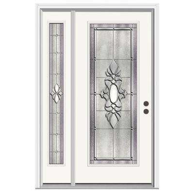 50 in. x 80 in. Full Lite Langford Primed Steel Prehung Left-Hand Inswing Front Door with Left-Hand Sidelite