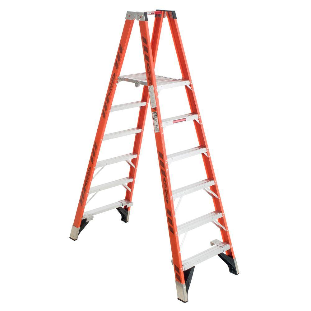 12 ft. Reach Fiberglass Platform Twin Step Ladder 300 lb. Load