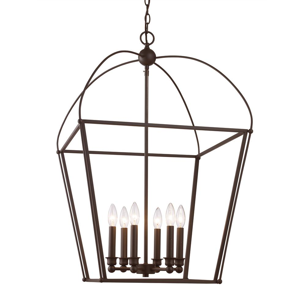 Bel Air Lighting Agnew 6 Light Rubbed Oil Bronze Pendant 10816 Rob The Home Depot