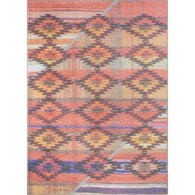 Posh Trio Southwestern Geometric Melon 7 ft. 7 in. x 9 ft. 6 in. Area Rug