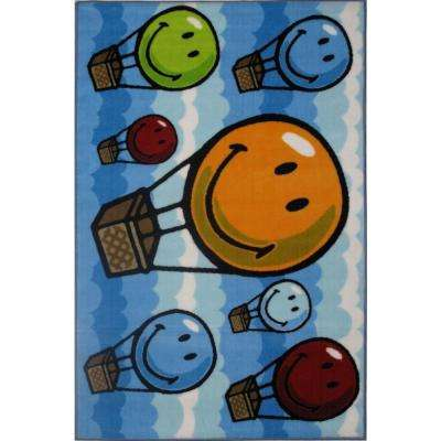 SmileyHot Air Balloon Multi Colored 2 ft. x 2 ft. Area Rug