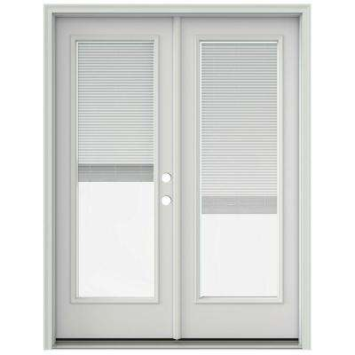 60 in. x 80 in. Primed Prehung Left-Hand Inswing French Patio Door with Brickmould and Blinds