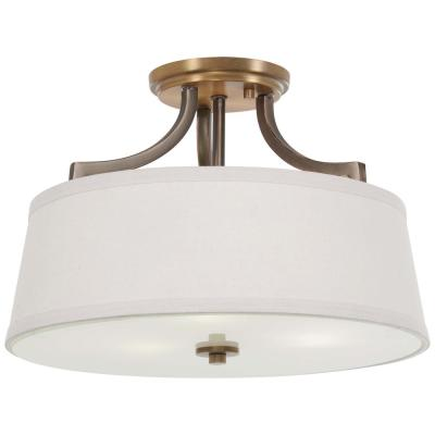 Safra 3-Light Harvard Court Bronze with Natural Brushed Brass Semi-Flush Mount