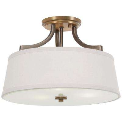 Safra 3-Light Harvard Court Bronze with Natural Brushed Brass Semi-Flushmount